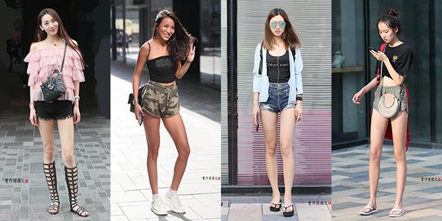 热裤让纤纤长腿更加升级的美女