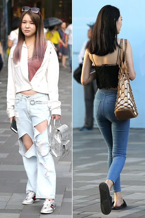 街拍:美女把牛仔裤穿出花来