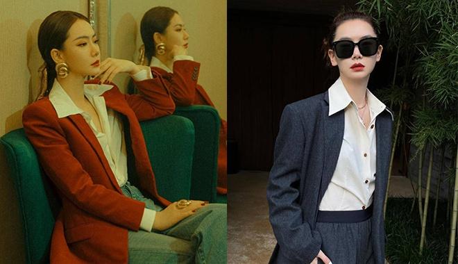 论西装还是戚薇会穿 红西装白衬衫简约高级