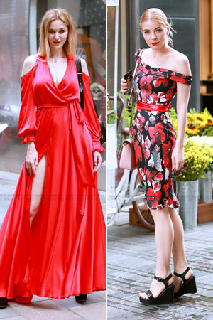 街拍:红衣潮女明艳动人