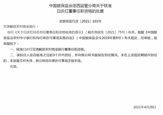 银保监会:核准白庆红甘肃岷县农商行董事任职资格