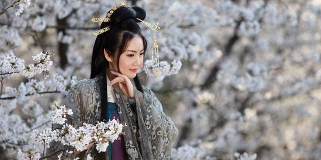樱花树下的古典美女