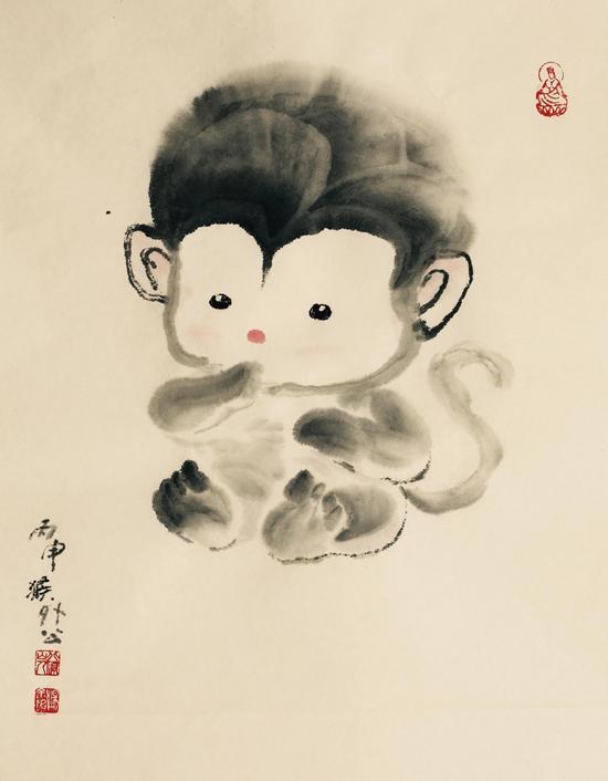 汤唯爸爸画的小猴子