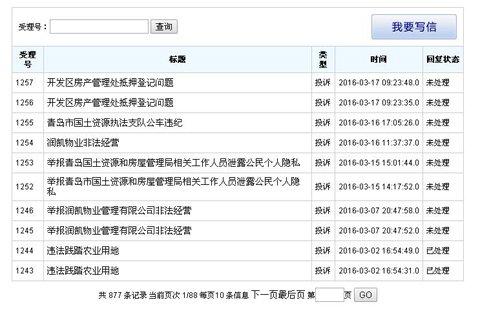 青岛市房管局官网网友的投诉