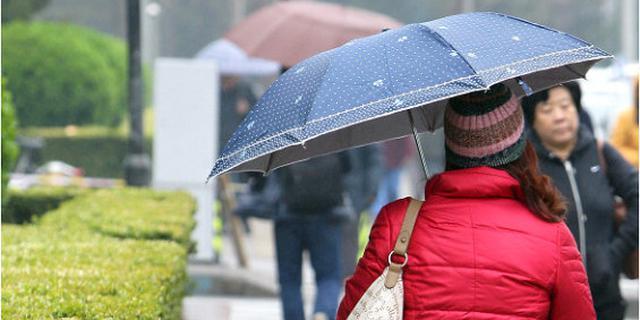 京城春雨满街羽绒服