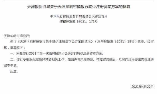 银保监会:同意天津华明村镇银行的减少注册资本方案