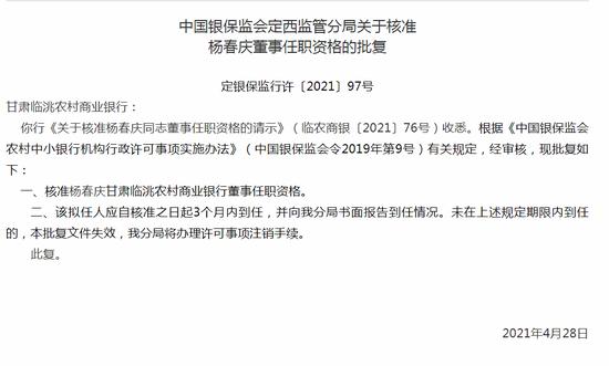 银保监会:核准杨春庆甘肃临洮农商行董事任职资格