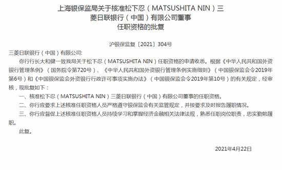银保监会:核准松下忍三菱日联银行董事的任职资格。