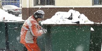 暴雪中的环卫工