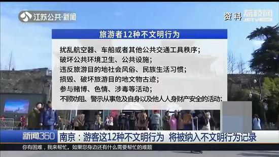 来南京旅游的这12种行为 将被纳入不文明行为记录