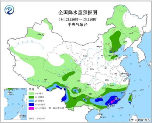全国降水量预报图(6月12日20时-13日20时)