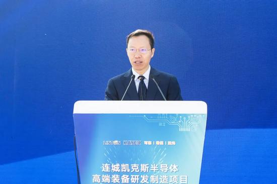 ▲大连连城数控机器股份有限公司董事长李春安致辞