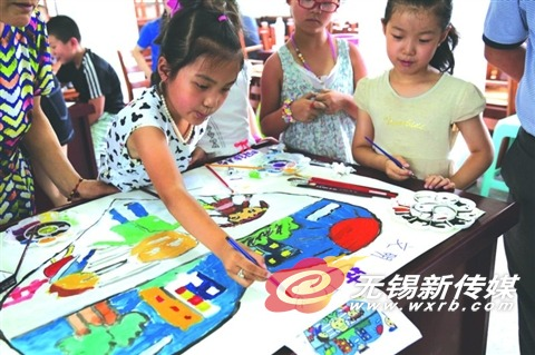 锡城社区组织小学生彩笔画活动 普及文明礼仪知识