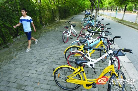 在新体育中心的出入口都有共享单车临时停放区域。