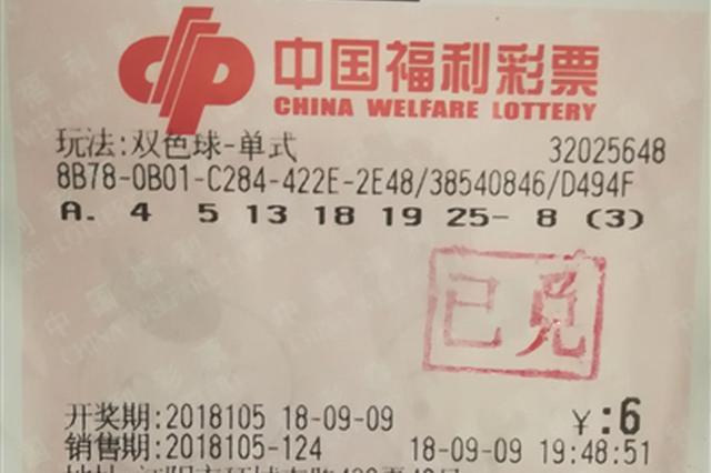 江阴退休阿姨幸运中双色球二等奖53万元
