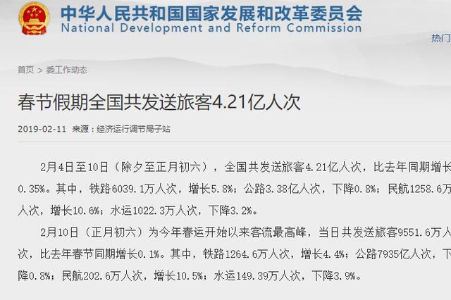 春节假期全国共发送旅客4.21亿人次