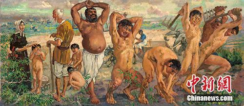 即将现身拍场的徐悲鸿油画《愚公移山》。嘉德拍卖供图