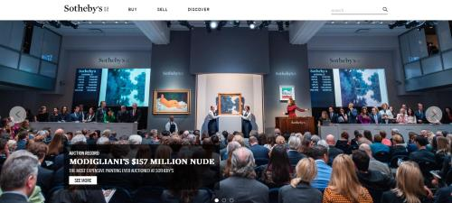 苏富比拍卖行官网上展示的当日拍卖现场。网页截图