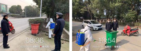 联合环卫部门对垃圾桶进行消毒