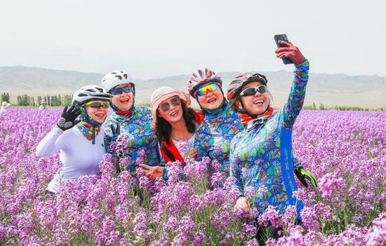 新疆呼图壁:骑行赏花 文明旅游