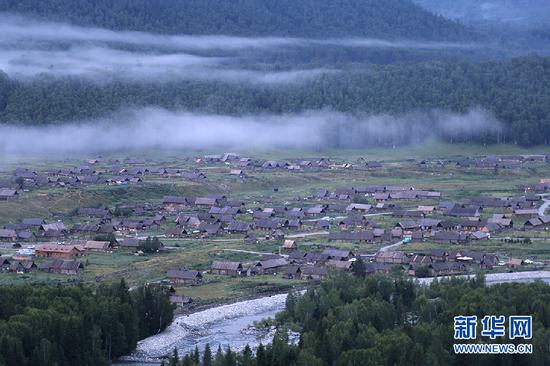 图为清晨被云雾笼罩的禾木村。新华网 刘舒 摄