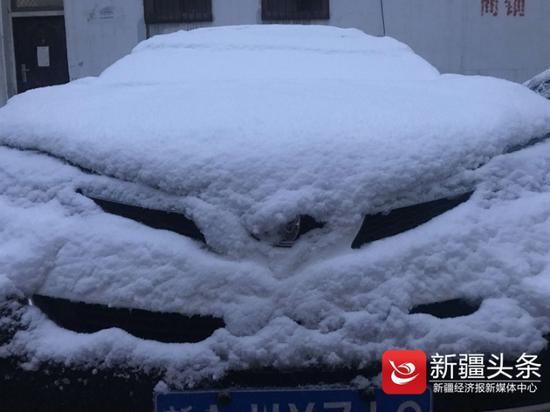 雪已经将车顶全部覆盖。