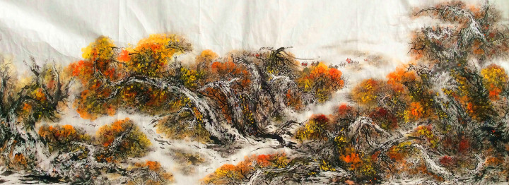 《大漠胡杨英雄图》百米国画长卷节选