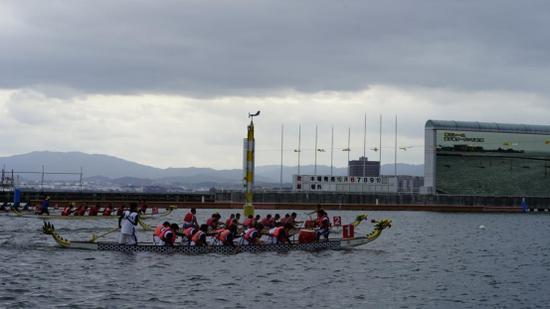 图:第7届日本国际轻量级龙舟赛激战正酣