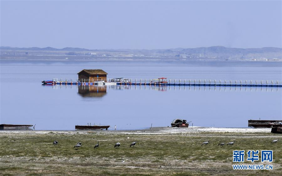 远观巴里坤湖美景(4月27日摄)。 新华社记者 赵戈 摄