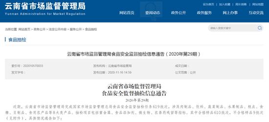 云南省市场监督管理局网站截图