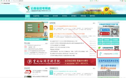 云南省招考频道页面