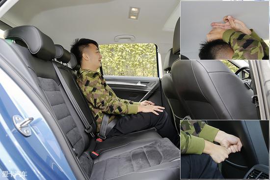 前排座椅保持不变,体验者进入后排,头部空间有一拳两指的距离,腿部空间尚有两拳。