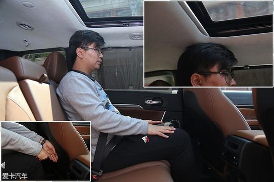 保持前排座椅位置不变的情况下,体验者在第二排可以拥有一拳加四指的腿部空间,不过头部已触碰到内饰顶衬,空间不甚理想。