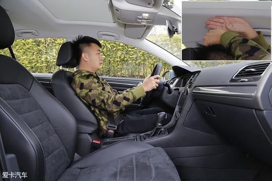 体验者身高173cm,进入前排将座椅调至舒适后,头部空间有一拳四指的距离。