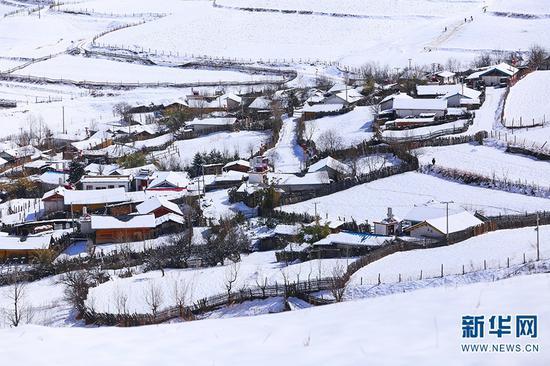 白雪覆盖下的小村庄。新华网发(崔永江 摄)