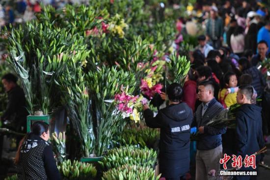 资料图:民众在昆明斗南花市选购鲜花。中新社记者 任东 摄
