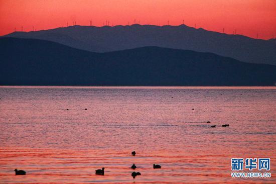 """2月14日日出前,洱海呈现出浪漫的色彩,给人们留下一抹""""粉红色的回忆""""。新华网发(李建梅 摄)"""