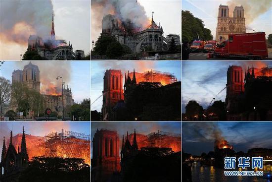 这张拼版照片显示的是4月15日,在法国巴黎,巴黎圣母院燃起大火。当地时间15日傍晚,位于巴黎市中心、有着800多年历史的巴黎圣母院发生大火,熊熊烈火之中,巴黎圣母院塔尖轰然倒塌,整座建筑损毁严重。新华社发