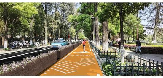 翠湖环路将建橙黄色慢跑道:花箱隔开车道,增加照明