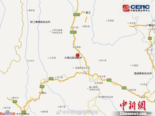 图为中国地震台网速报图。中国地震台网官方微博截图