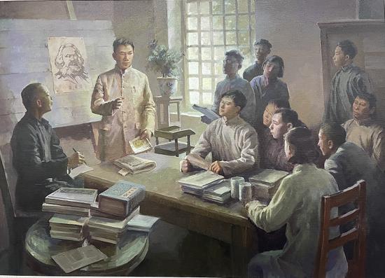 油画《李国柱在省立一中传播马克思主义》作者:王广范