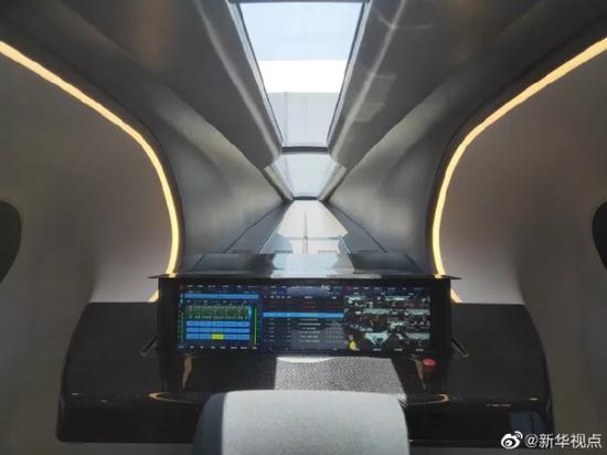高速磁悬浮列车内部/图片据新华视点