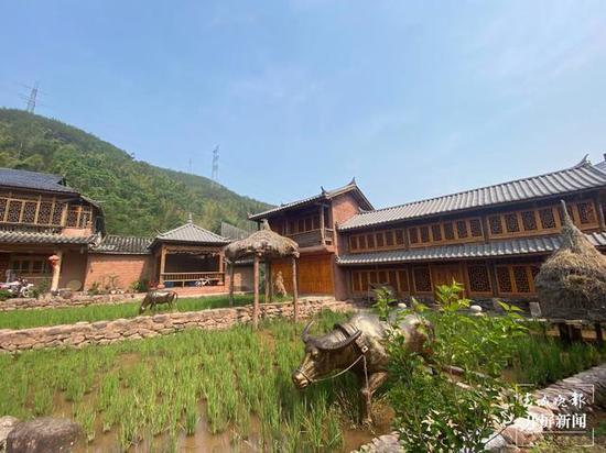 那柯里村特色小镇建设中保留了部分稻田景观