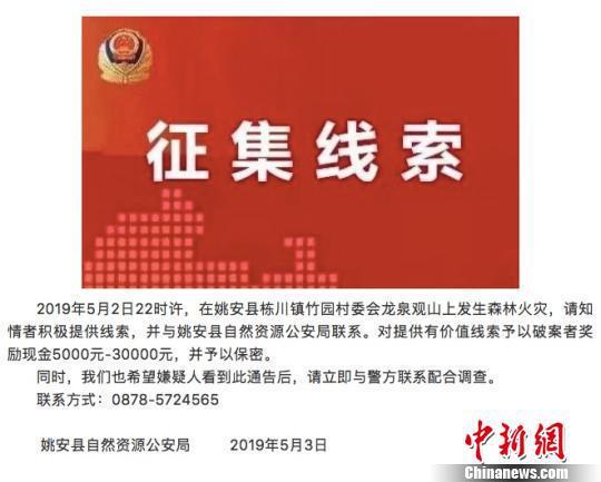 图为姚安县自然资源公安局发布的通告 微信截图
