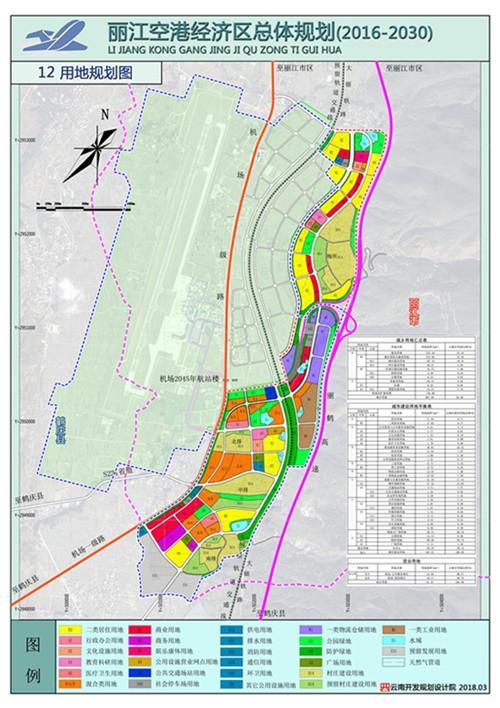 丽江空港经济区总体规划用地规划图