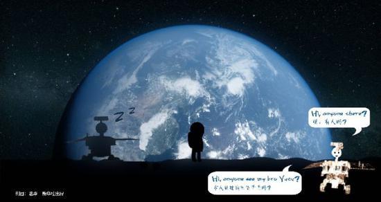 """""""玉兔二号""""驶上月球背面,问候""""玉兔""""。新华社记者 陆烨 制图"""