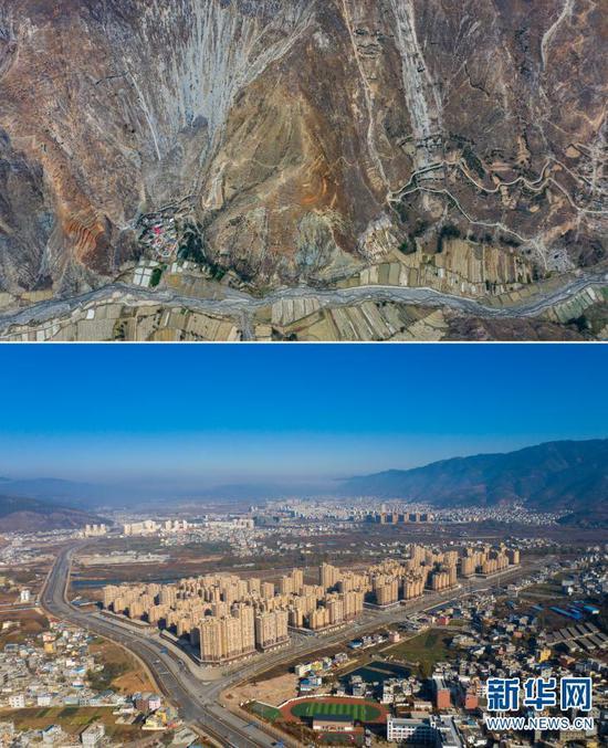 拼版照片,上图为:位于荒山峡谷间的云南省曲靖市会泽县大海乡小江村(2020年3月10日摄,无人机照片);下图为:新建的会泽县以礼街道(2020年12月15日摄,无人机照片)。
