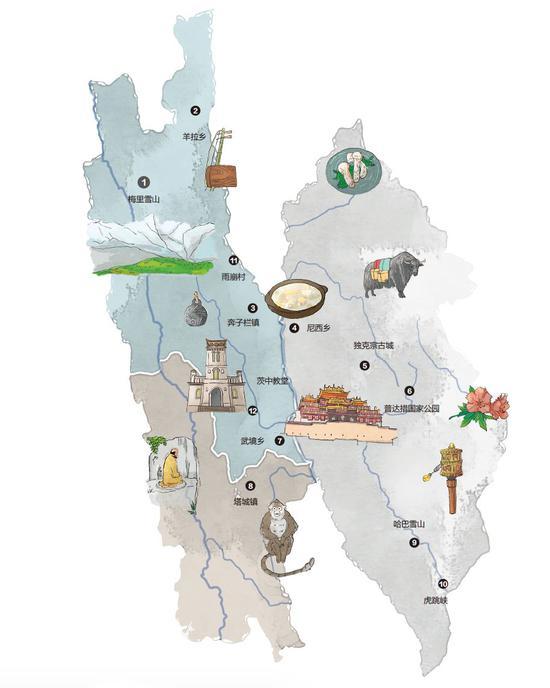 ▲ 香格里拉手绘地图。