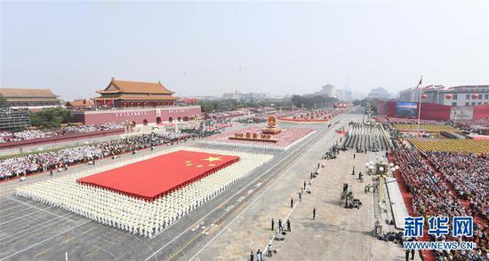 庆祝中华人民共和国成立70周年大会在北京天安门广场隆重举行(2019年10月1日摄)。 新华社记者 岳月伟 摄