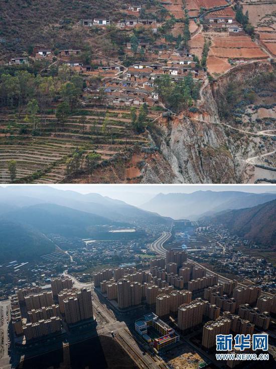 拼版照片,上图:石元顺一家曾经居住的小江村位于一处陡峭的山坡上(2020年3月10日摄,无人机照片);下图:石元顺一家如今居住的会泽县以礼街道(2020年12月15日摄,无人机照片)。